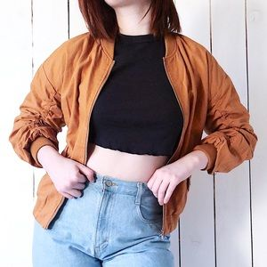 Jackets & Blazers - Forever 21 Ruched Bomber Jacket Burnt Orange